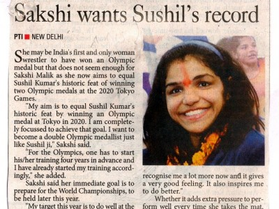Sakshi wants Sushil's record