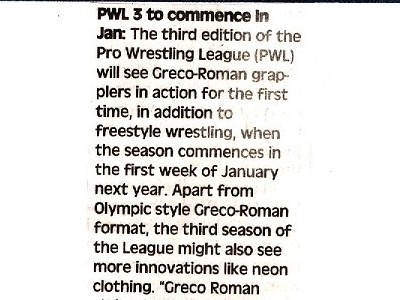 PWL 3 to commence in Jan