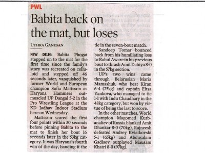 Babita back on mat